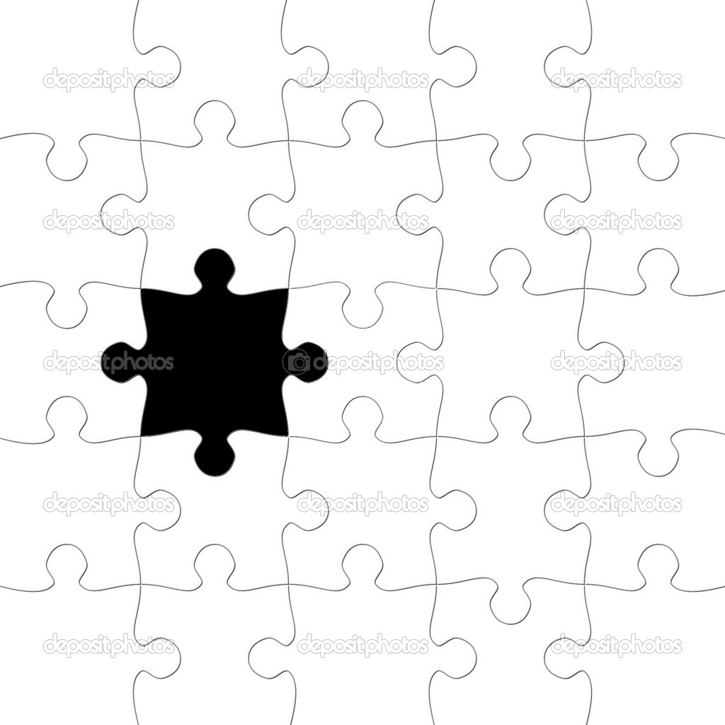 Puzzle With Missing Piece In Black