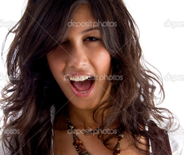 Close Up Of Sexy Young Teen Shouting Stock Photo