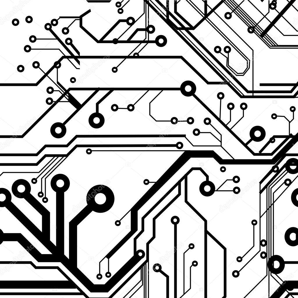 seamless printed circuit board pattern stock vector illustration