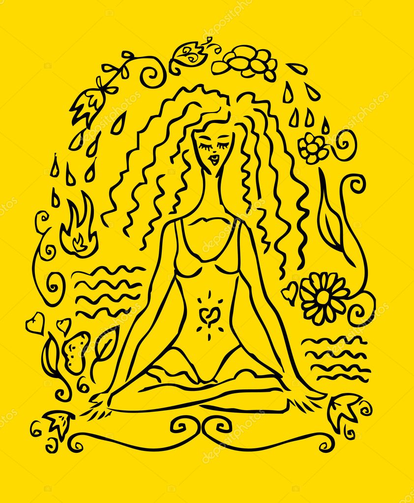 Falsa Carta De Yoga Mujer Del Tatuaje Fotos De Stock Realmcoy
