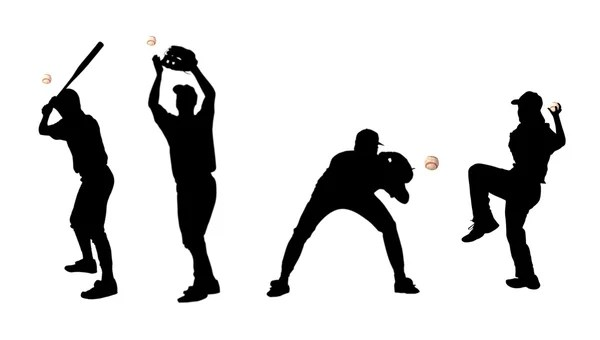 Silhouettes of baseball players — Stock Photo © pdesign