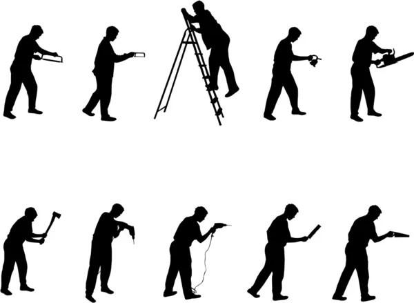 Working man silhouettes — Stock Vector © Slobelix #1804754