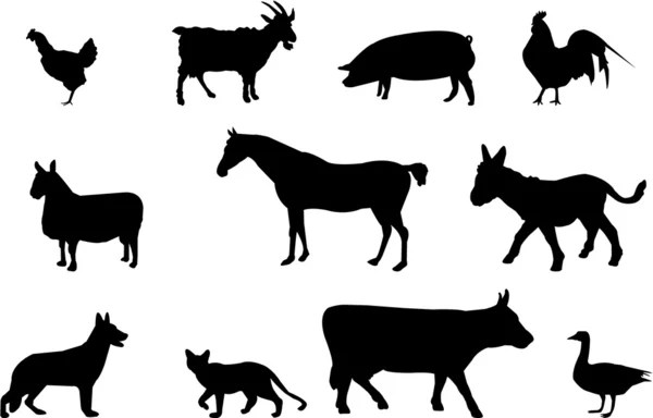 Farm animals silhouettes — Stock Vector © Slobelix #1819661