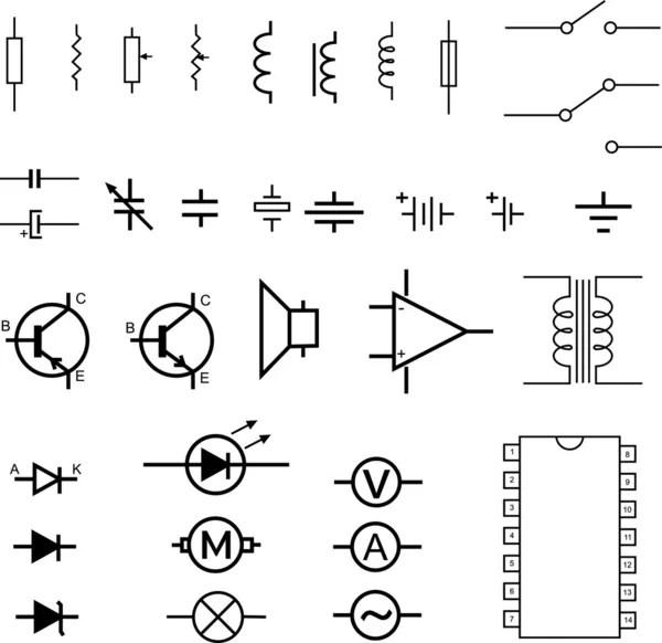 elektronisch circuit symbolen — Stockvector © eyematrix