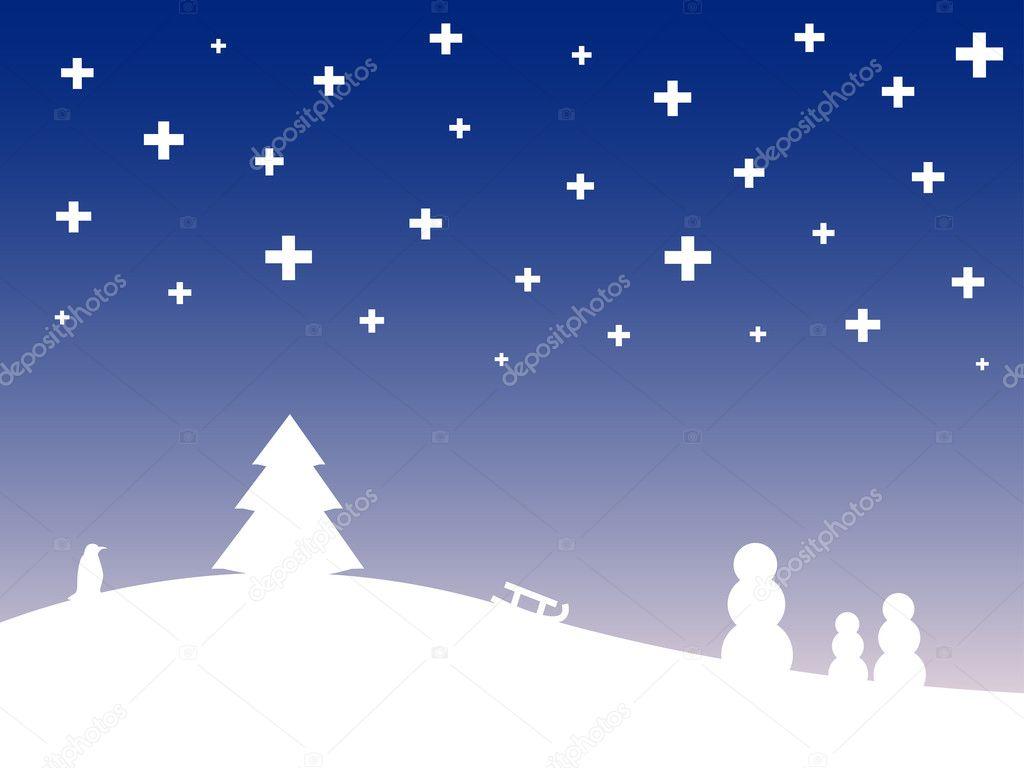 Paesaggio invernale stilizzato  Vettoriali Stock  Klauts