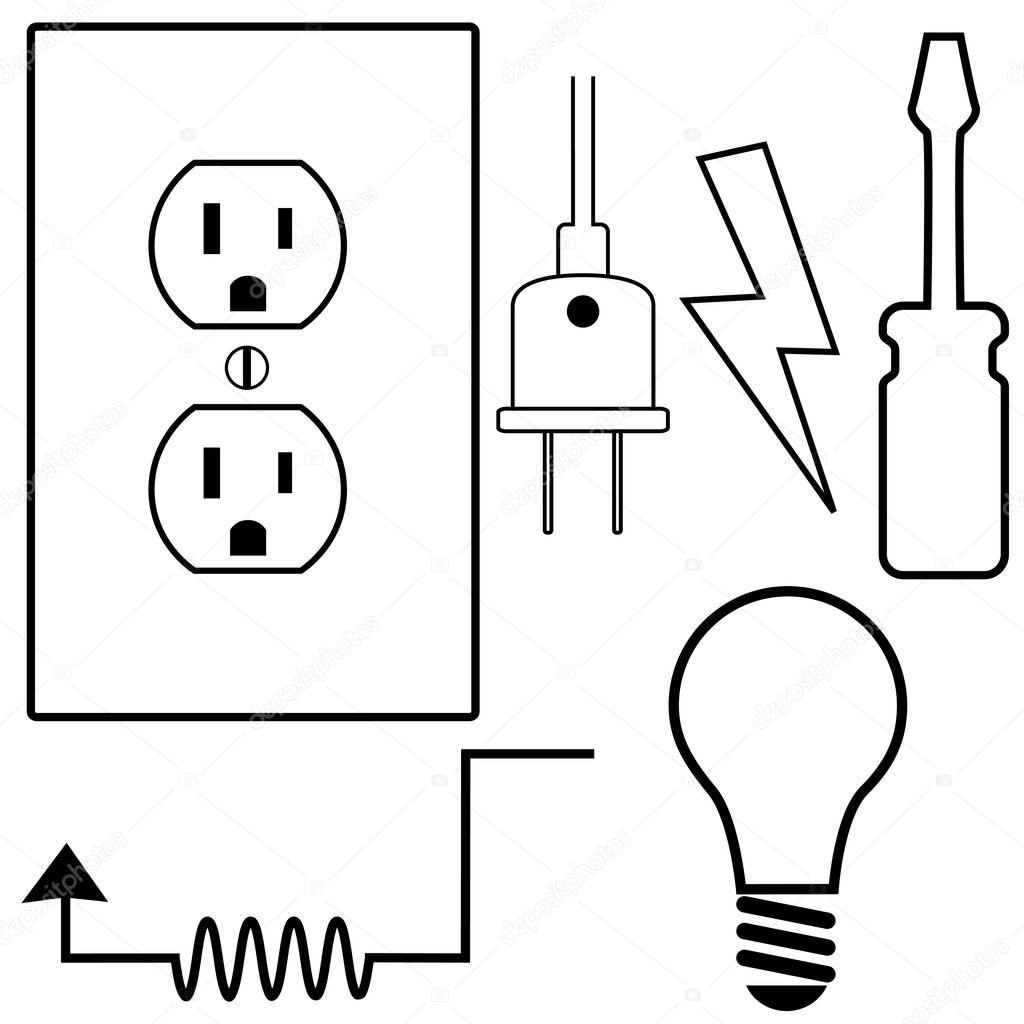 Electrical Repair Contractor Electrician Symbol — Stock