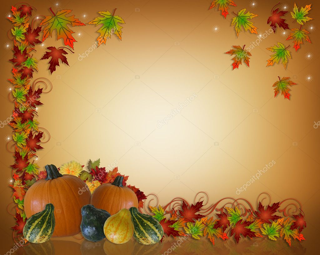 Fall Leaves And Pumpkins Wallpaper Thanksgiving Autumn Background Border Stock Photo