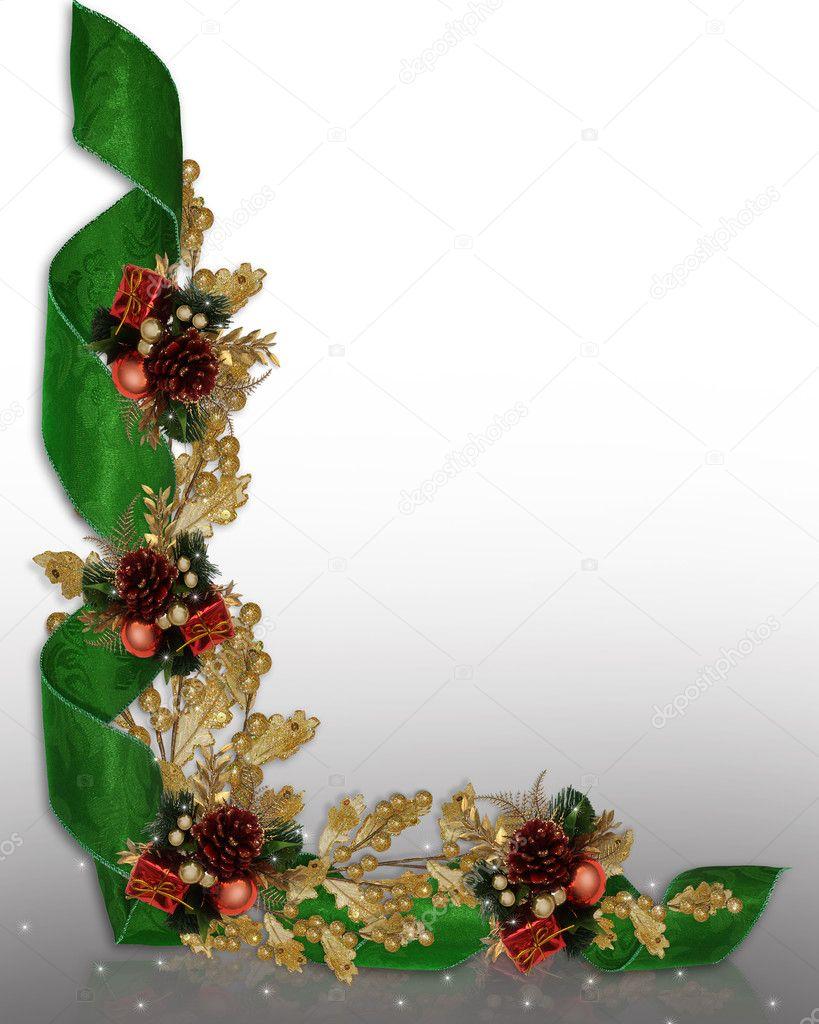 Christmas Border Elegant Ribbons Stock Photo Irisangel