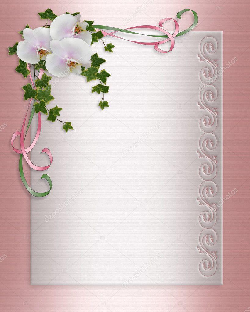 Orchideen und EfeuHochzeitseinladung  Stockfoto