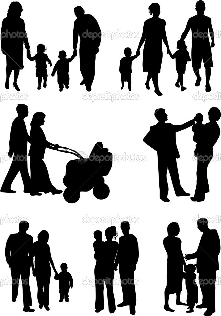 Family  silhouette  Stock Vector  pablonis 2068494