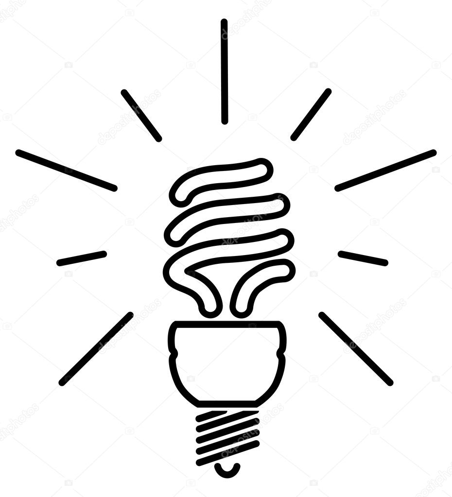 Energy saving fluorescent light bulb — Stock Vector