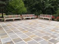 Three wood benches by a patio  Stock Photo  cfarmer #2513417