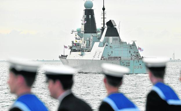 The British Navy destroyer HMS Defender in a file image.