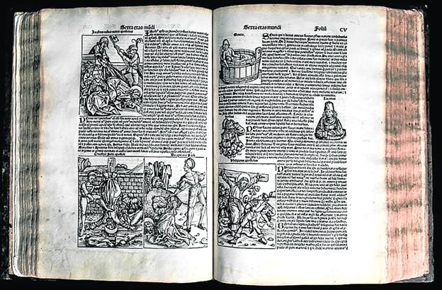 1,804 woodcuts (engraved using wooden plates) appear throughout its 325 folios.  Its paper is made of cloth, which explains the perfect state of conservation.  It weighs about 10 kilos.  It was read on a lectern or desk and should be stored horizontally to avoid warping.