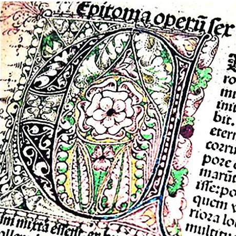 Halfway between the printed text and the manuscript, in 'Chronicles of Nuremberg' the capital letter was beautifully adorned.  It was work that was done by hand.