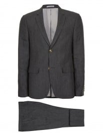 Topman - Costume skinny coupe slim en lin anthracite
