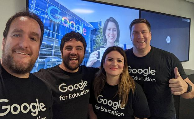 Former counselor Esperanza Moreno with her new colleagues from 'Google for Education'.