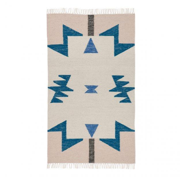 tapis kelim triangles bleus