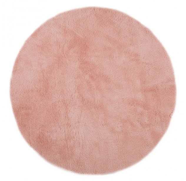 tapis rond rose poudre