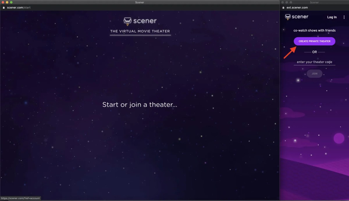 Scener private theater button