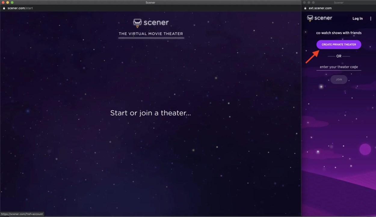 Scener private theater button