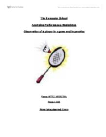 Analysing Performance: Badminton Observation of a player