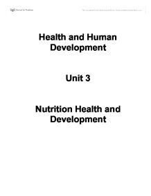 Health revision notes. Nutrition, Health and Development