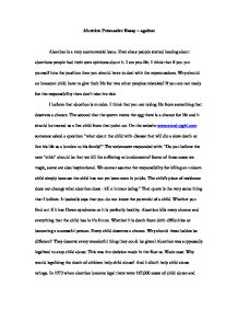 Against Abortion Essays Abortion Essay Conclusion Co High School