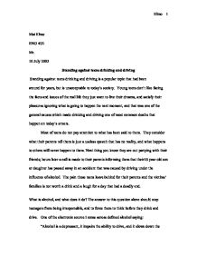Essay On Drinking Problems Of Drinking And Driving Essay