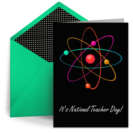 Science Teachers Atom Free Teacher Day ECard Teacher