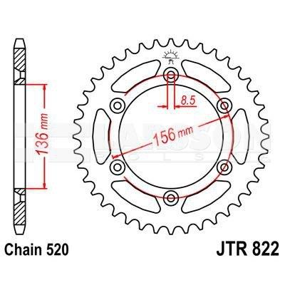 Zębatka tylna stalowa JT 822-52, 52Z, rozmiar 520 2301410