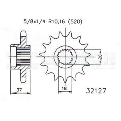 Zębatka przednia JT 50-32127-17, 17Z, rozmiar 520 2201290