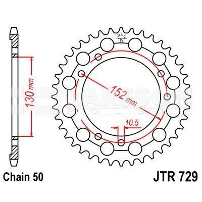 Zębatka tylna stalowa JT 729 Z 46 C43, 46Z, rozmiar 530