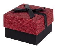 Black and Red Glitter Gift Box with Black Ribbon Bow