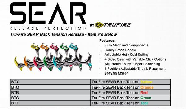 Tru-Fire Sear 3 Finger Release Aid with adjustable 4th