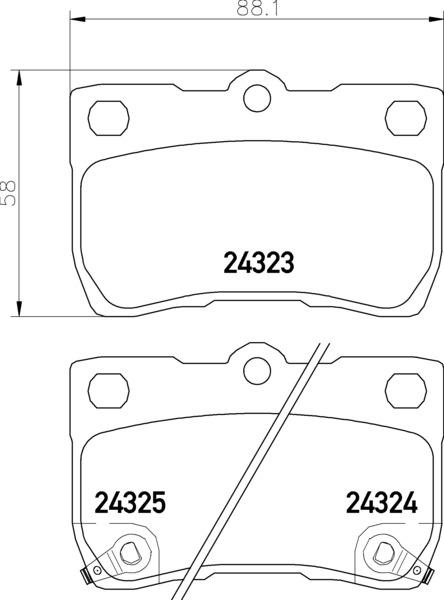 8DB 355 006-971 WITH ACOUSTIC WEAR WARNING DISC PAD SET