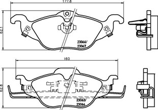 8DB 355 008-571 WITH ACOUSTIC WEAR WARNING DISC PAD SET