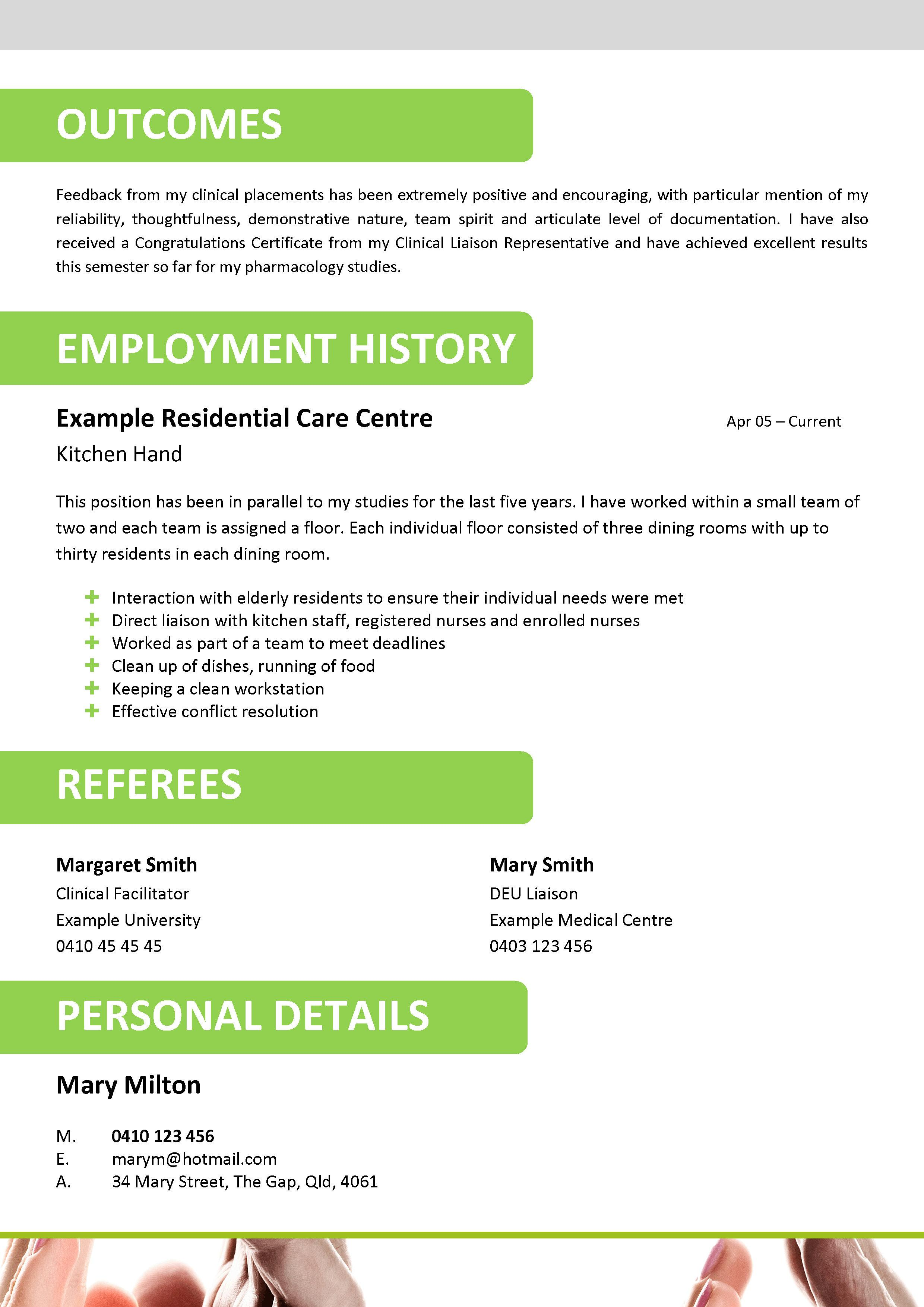 Aged Care Resume Template