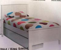 Trundle bed King single white with single trundle ...