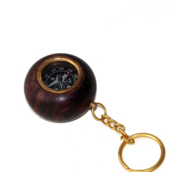 Kulcstartó iránytű fakeretben 5 cm Iránytű, Napóra
