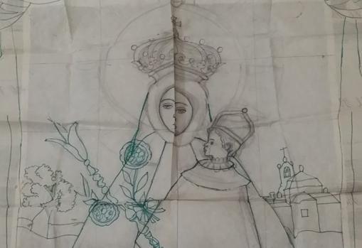 Boceto para un tapiz de la Virgen de la Montaña