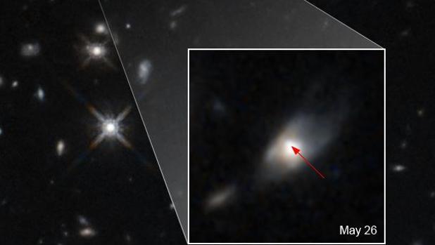 La imagen muestra el inesperado brillo en el infrarrojo cercano captado por el telescopio espacial Hubble