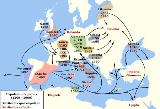 Expulsiones de comunidades judías en Europa entre 1.100 y 1.600