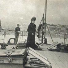 María Fiódorovna a bordo del acorazado británico HMS Marlborough