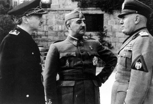 Benito Mussolini Francisco Franco Bahamonde y Ramón Serrano Suñer