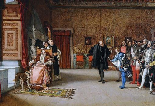 Presentación de don Juan de Austria al emperador Carlos V, en Yuste, por Eduardo Rosales, 1869.