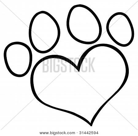 Picture or Photo of Outlined Heart Shaped Dog Paw Print