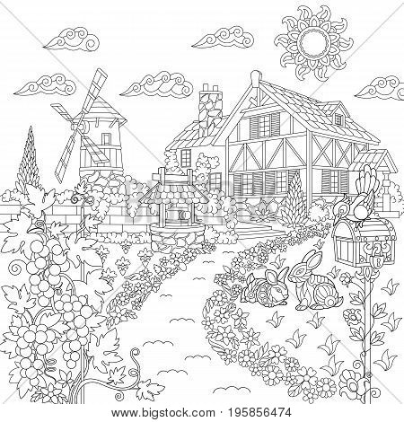 Coloring book page of rural landscape. Farm house windmill