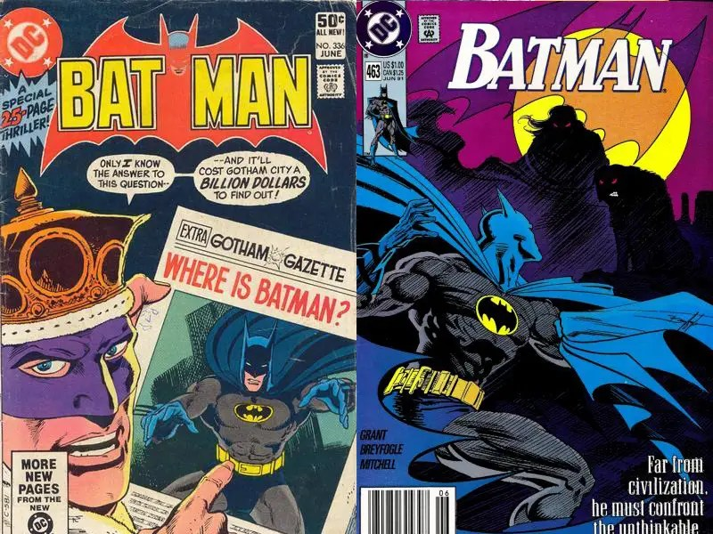 "'80s/'90s"" ""Modern Age Batman"" – The Dark Knight remained similar in style to his former self from both the Golden and Silver Ages with blue cape and cowl and grey tights."