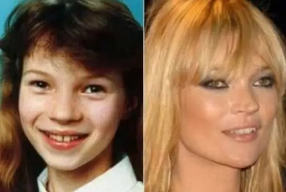 Kate Moss sports a more natural look in this middle school yearbook photo.